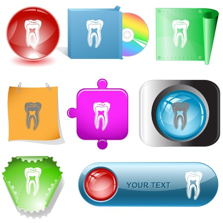 Tooth internet buttons. Stock Vector - 7177031