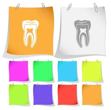 Tooth. note papers. Vector