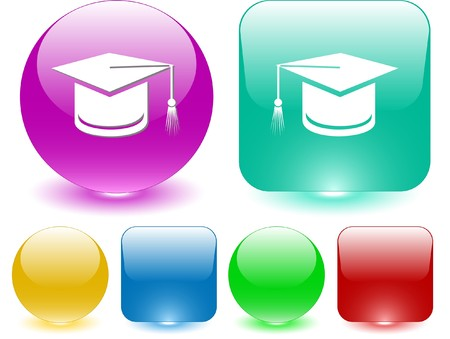 doctorate: Graduation cap. Vector interface element. Illustration