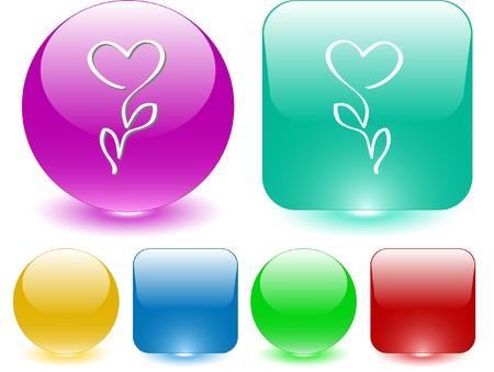 Flower-heart. Vector interface element. Stock Vector - 7187262