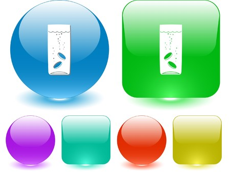 Glass with tablets. Vector interface element. Vector