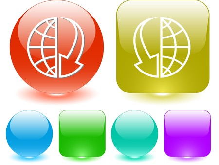Globe and array down. Vector interface element. Stock Vector - 7187269