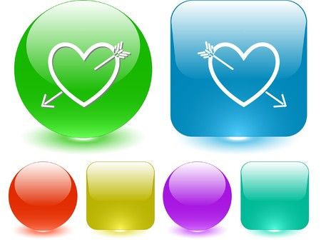 Heart and arrow. Vector interface element. Vector