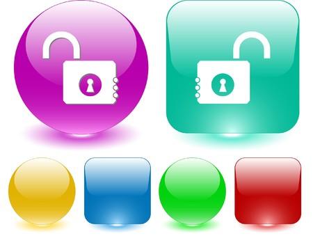 Opened lock. Vector interface element. Stock Vector - 7187280