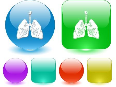 inhaling: Lungs. Vector interface element.