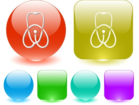 Stethoscope. Vector interface element. Vector
