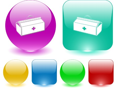 Medical suitcase. Vector interface element. Vector