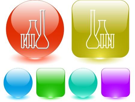 kunststoff rohr: Chemische Reagenzgl�ser. Vektor-Interface-Element.