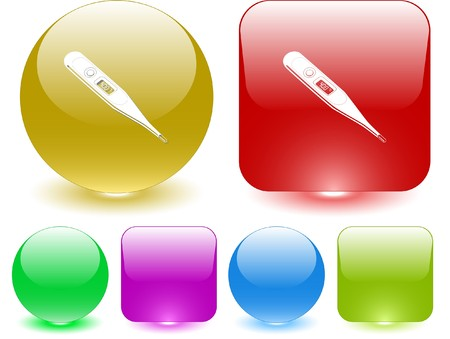 Thermometer. Shows 40 degrees Celsius. Vector interface element. Vector