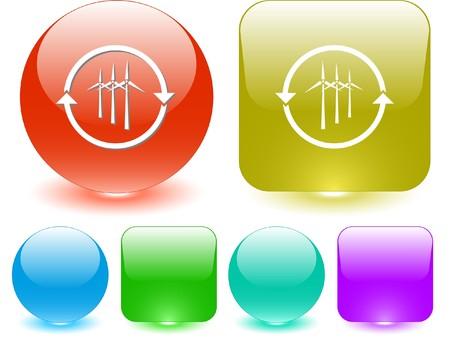 Wind turbine. Vector interface element. Stock Vector - 7187282
