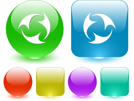 recycle symbol vector: Abstract recycle symbol. Vector interface element. Illustration