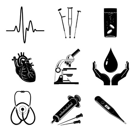 Vector icons of medical elements Illustration
