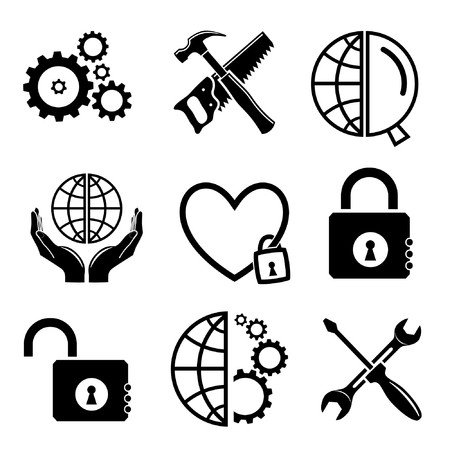 screw key: Vector icons of tool