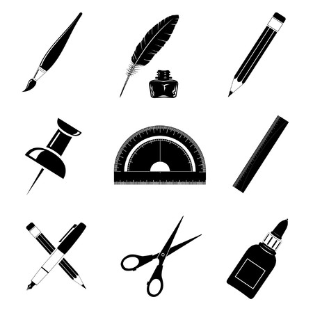 protractor: Vector icons of office tools Illustration