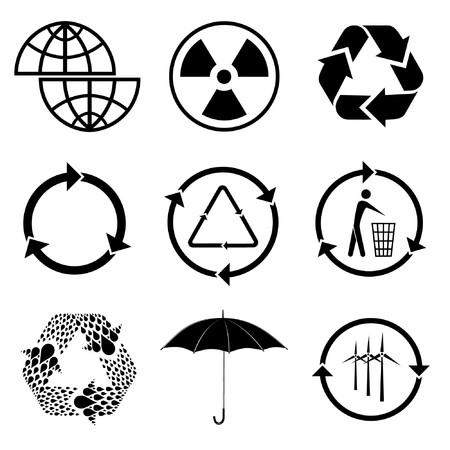afvalbak: Vector iconen van ecologie