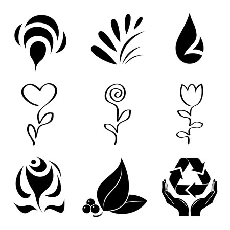 Vector icons of plants Vector