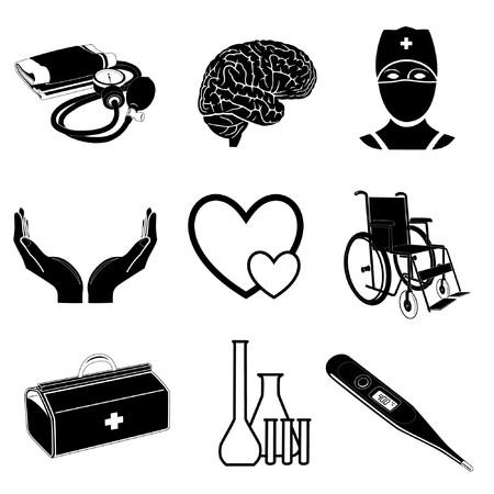 cerebro blanco y negro: Iconos de vector de elementos m�dicos  Vectores