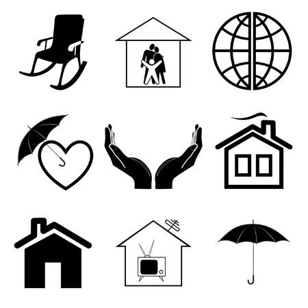Icone vettoriali di comfort domestico