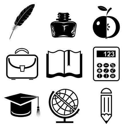 crayon de couleurs: Vector icons of education Illustration