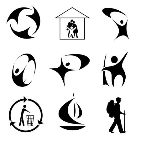 ni�os reciclando: Abstractos iconos de vector  Vectores