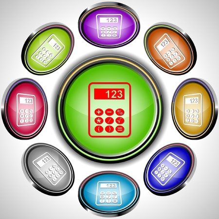 Calculator. internet buttons. 8 different projections. Stock Vector - 7262050