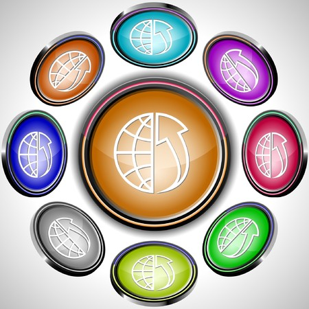 Globe and array up. internet buttons. 8 different projections. Stock Vector - 7262009