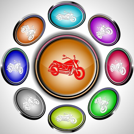 Motorcycle internet buttons. 8 different projections. Vector