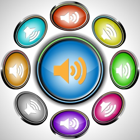 Speaker.  internet buttons. 8 different projections. Stock Vector - 7261954