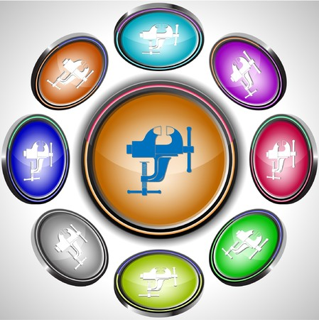 Clamp. internet buttons. 8 different projections. Stock Vector - 7262051