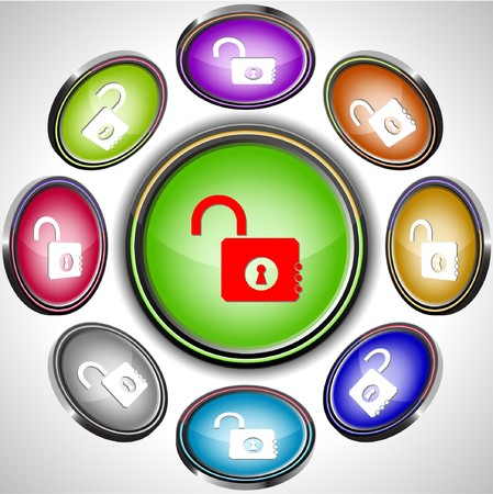 Opened lock.  internet buttons. 8 different projections. Stock Vector - 7261865