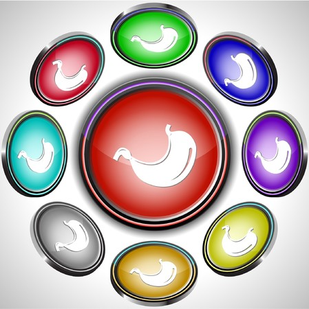 Stomach. internet buttons. 8 different projections. Stock Vector - 7261880