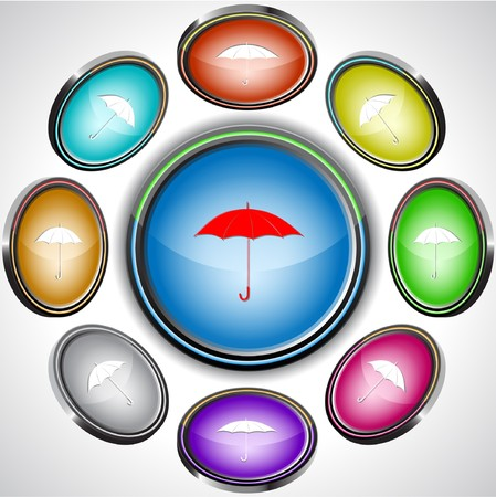 Umbrella. internet buttons. 8 different projections. Stock Vector - 7261864