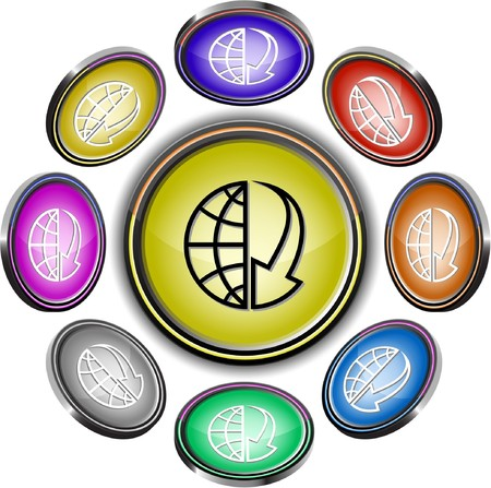 Globe and array down. internet buttons. 8 different projections. Stock Vector - 7261952
