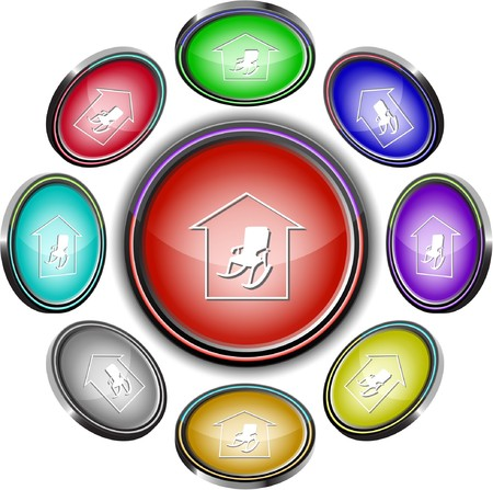 Home comfort. internet buttons. 8 different projections. Vector