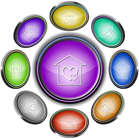 Orphanage. internet buttons. 8 different projections. Stock Vector - 7275564