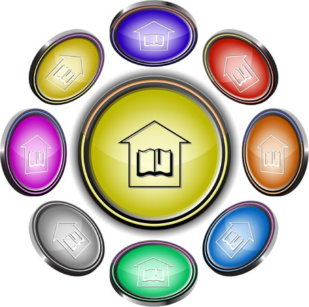 Library.  internet buttons. 8 different projections. Stock Vector - 7275570