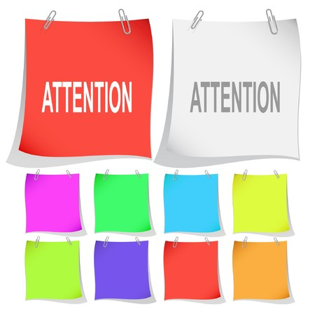 Attention. note papers. Stock Vector - 7302038