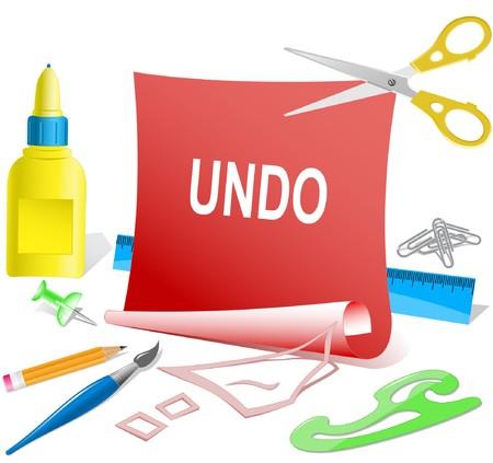 undoing: Undo. paper template. Illustration