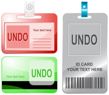 undoing: Undo. id cards. Illustration