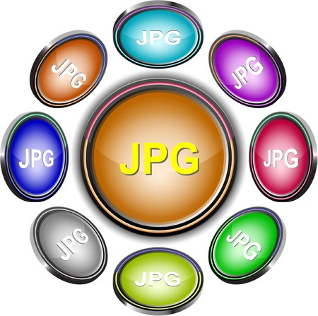 Jpg. internet buttons. 8 different projections. Stock Vector - 7302154