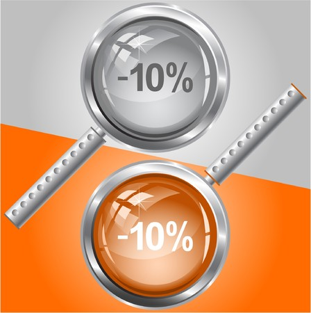 -5%. magnifying glass. Illustration
