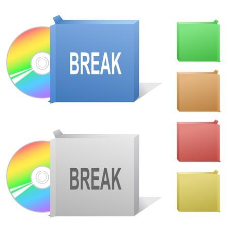 disk break: Break. Box with compact disc. Illustration