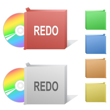 Redo. Box with compact disc. Stock Vector - 7301896