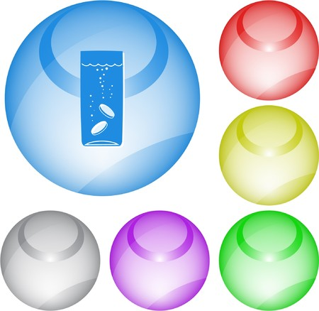 Glass with tablets. interface element. Vector