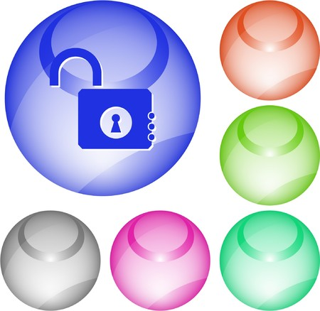 Opened lock. interface element. Stock Vector - 7376305