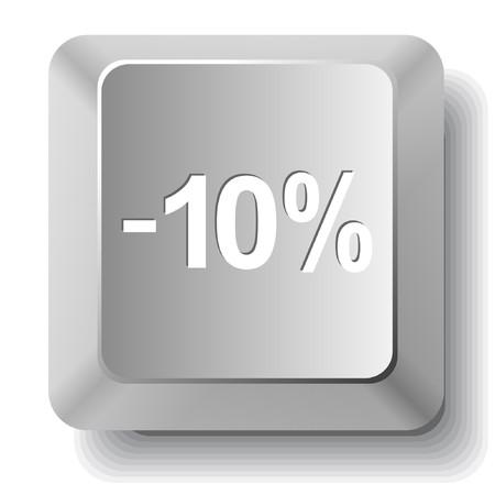 -10%. computer key. Stock Vector - 7522809