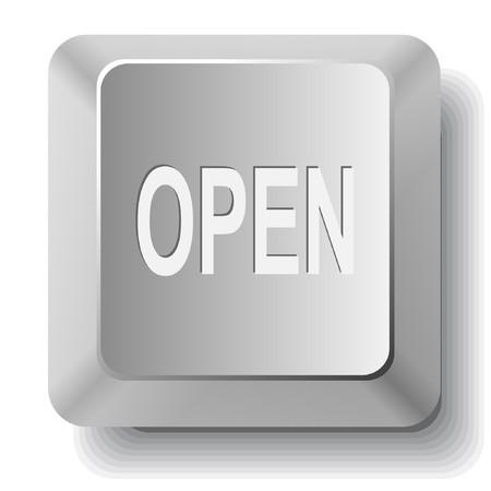 unrestricted: Open. computer key.