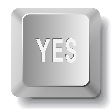 Yes. computer key. Stock Vector - 7522711