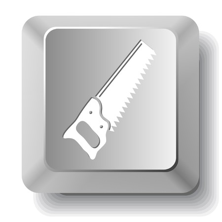 Hand saw. computer key. Stock Vector - 7522948