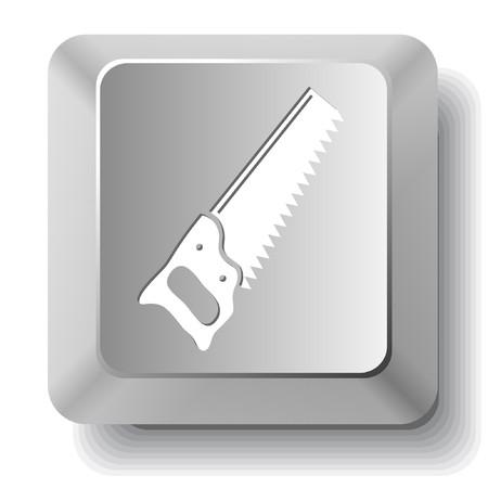 Hand saw. computer key. Stock Vector - 7522948